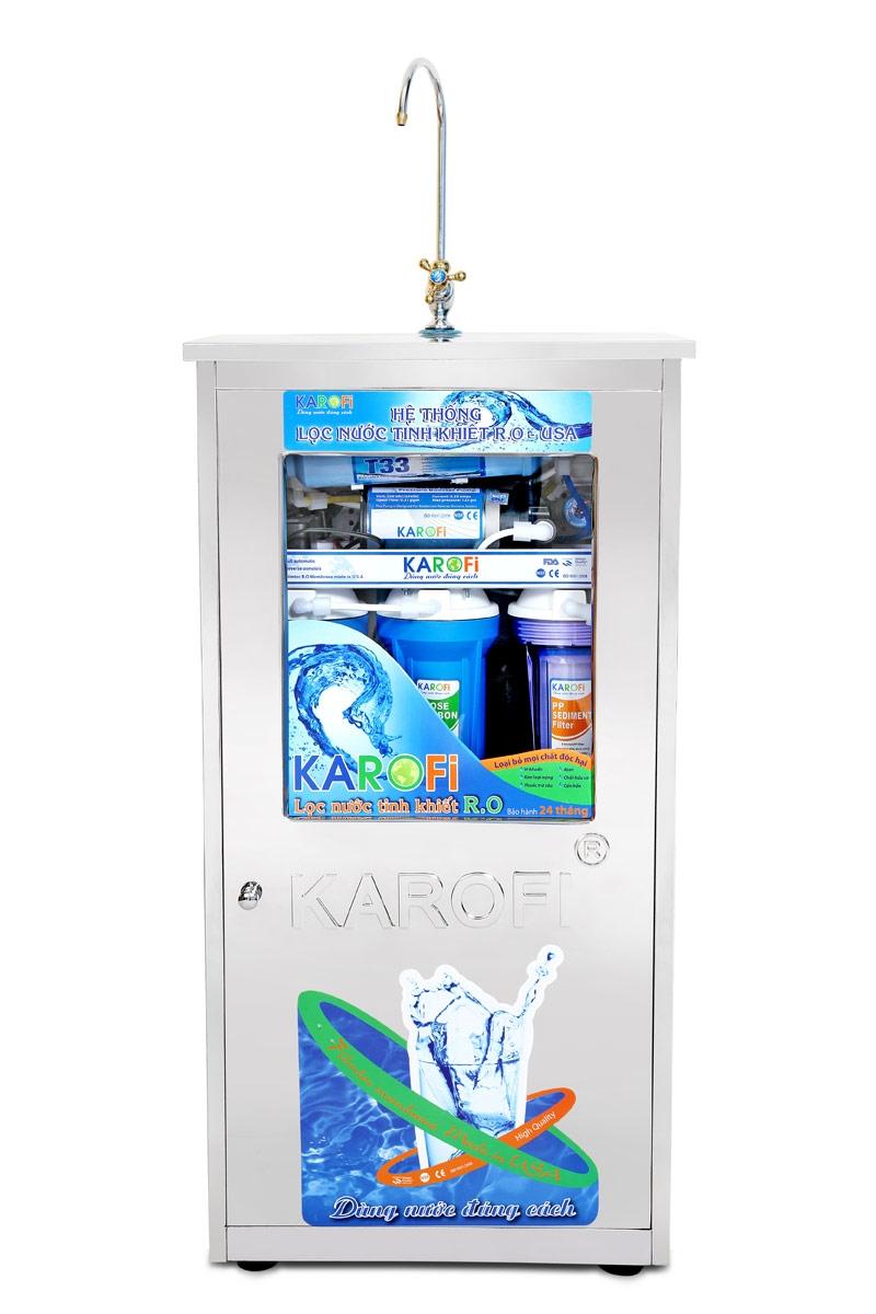 Máy lọc nước Karofi 7 lõi lọc có tủ bình áp nhựa (K70-T)