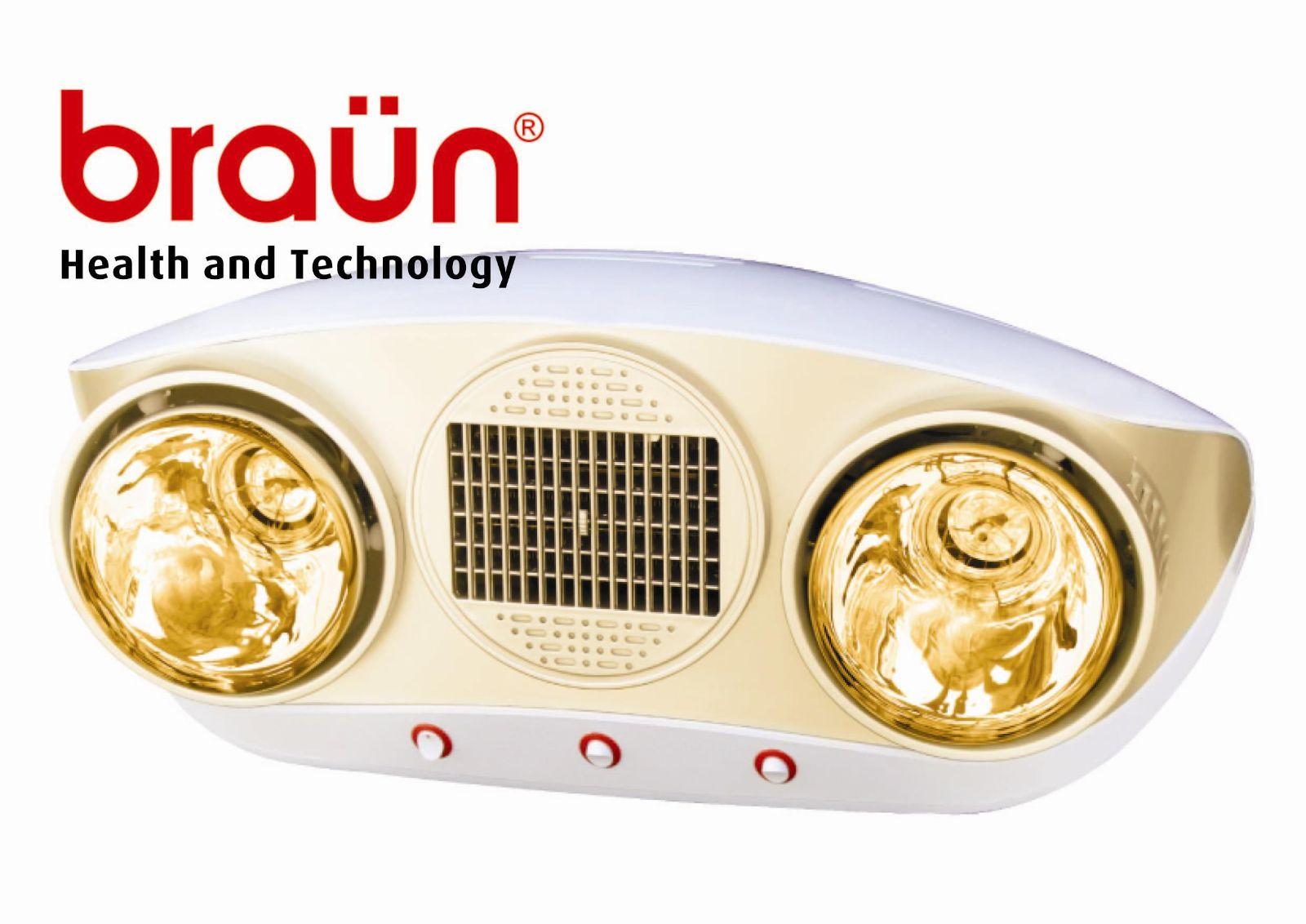 Đèn sưởi nhà tắm Braun 2 bóng vàng + Quạt sưởi (BU02PG)