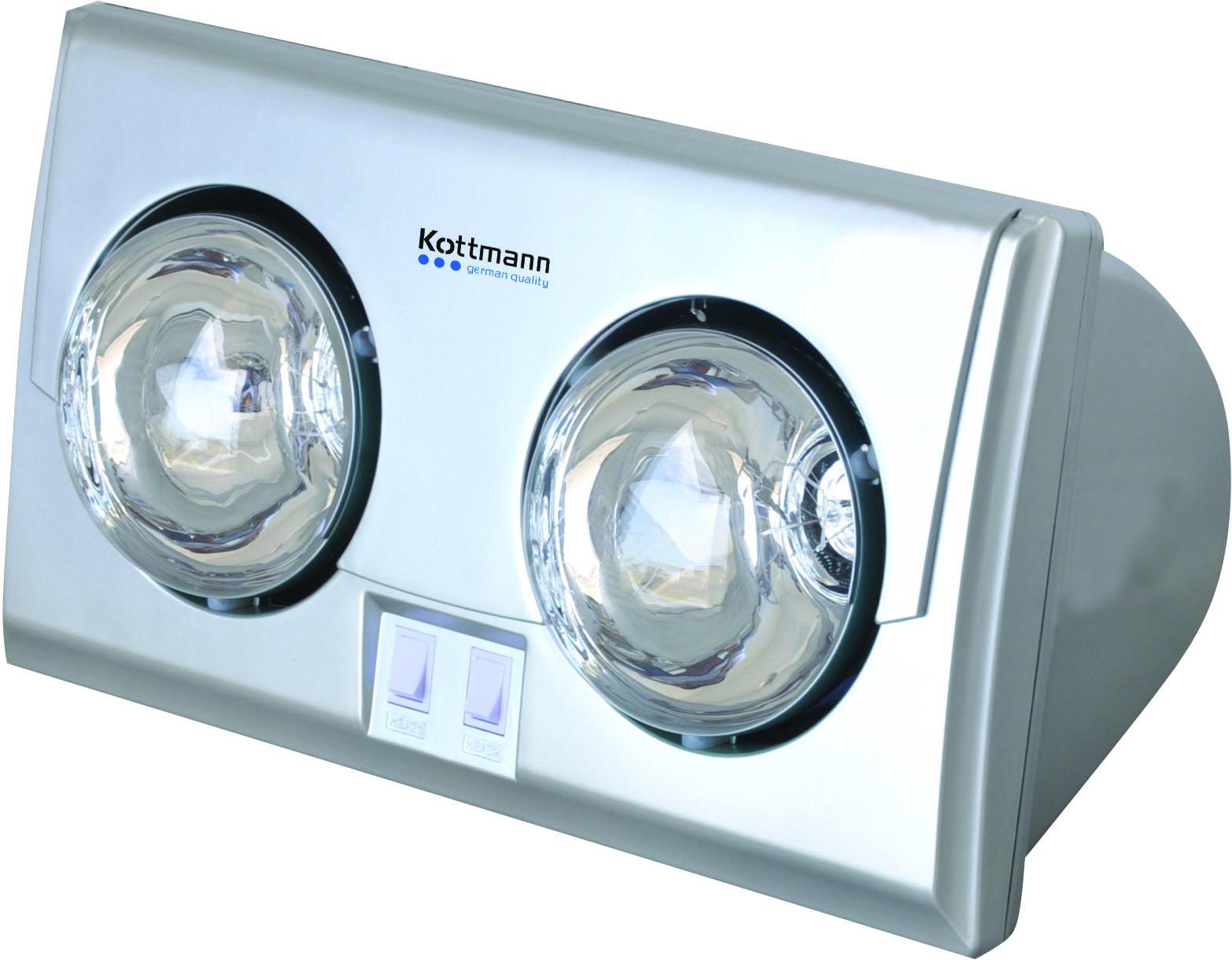 Đèn sưởi nhà tắm 2 bóng Kootman- dòng bạc (K2B-S)
